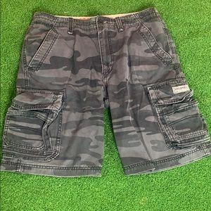 Camouflage Army Black Gray Cargo Shorts